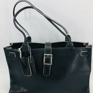 Wilsons Leather Womens Black Structured Briefcase